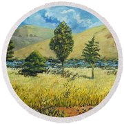 Cypresses At Lydenburg Round Beach Towel