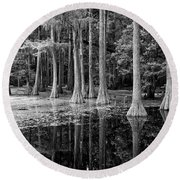Cypresses In Tallahassee Black And White Round Beach Towel
