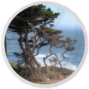 Cypress On The Cliff 15 Round Beach Towel
