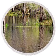 Cypresses Reflection Round Beach Towel