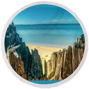 Cyprus Of The Sea Round Beach Towel