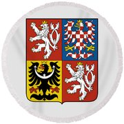 Czech Republic Coat Of Arms Round Beach Towel