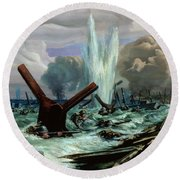 D Day Round Beach Towel by Orville Norman Fisher