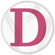 D In Pink Typewriter Style Round Beach Towel