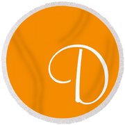 D In White Simple Script Round Beach Towel