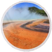 D09132 Colorful Grand Prismatic Spring Round Beach Towel