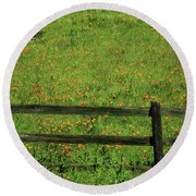 D7b6306 Fence And Poppies Round Beach Towel