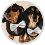 Dachshunds And Bowties Round Beach Towel