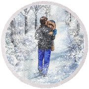 Dad And Child In The Winter Snow Round Beach Towel