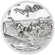 Daedalus And Icarus Round Beach Towel