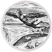 Daedalus Escaping From Crete With His Son, Icarus, Sees Him Falling To His Death Round Beach Towel