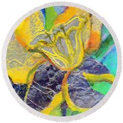 Daffodil Abstract Round Beach Towel