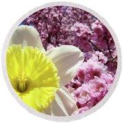 Daffodil Flower Art Prints Pink Tree Blossoms Blue Sky Baslee Round Beach Towel