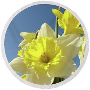 Daffodil Flowers Artwork Floral Photography Spring Flower Art Prints Round Beach Towel