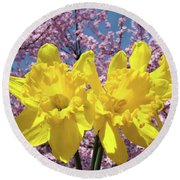 Daffodil Flowers Spring Pink Tree Blossoms Art Prints Baslee Troutman Round Beach Towel