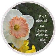 Daffodil Peach And Yellow Birthday  Round Beach Towel
