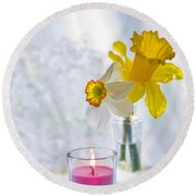 Daffodils And The Candle Round Beach Towel