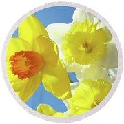 Daffodils Art Print Floral Sky Bouquet Daffodil Flower Baslee Round Beach Towel
