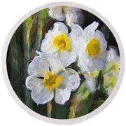 Daffodils In My Garden Round Beach Towel