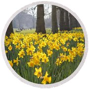 Daffodils In St James Park London Round Beach Towel