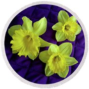 Daffodils On A Purple Quilt Round Beach Towel