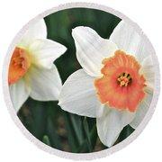 Daffodils Orange And White Round Beach Towel