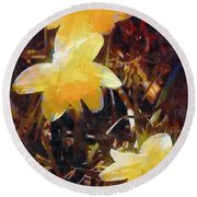 Daffs Gone Goth Round Beach Towel