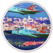 Daggers Over Madison In Oil Round Beach Towel