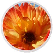 Dahlia Floral Orange Yellow Flower Botanical Art Prints Canvas Baslee Troutman Round Beach Towel