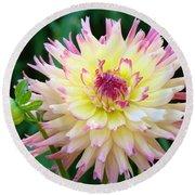 Dahlia Floral Pink Yellow Flower Garden Baslee Troutman Round Beach Towel