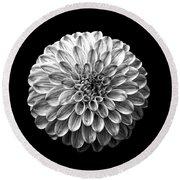 Dahlia  Flower Black And White Square Round Beach Towel