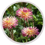 Dahlia Garden Floral Pink Yellow Botanical Landscape Baslee Troutman Round Beach Towel