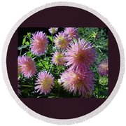 Dahlia Group Round Beach Towel