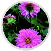 Dahlia Mirror Round Beach Towel