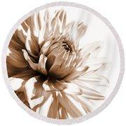 Dahlia Sepial Flower Round Beach Towel