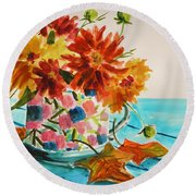 Dahlias In A Painted Cup Round Beach Towel