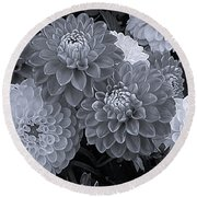 Dahlias Multi Bw Round Beach Towel