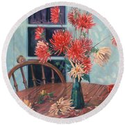 Dahlias With Red Cup Round Beach Towel