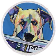 Daily Duty Round Beach Towel by Pat Saunders-White