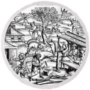 Daily Life: France, 1517 Round Beach Towel