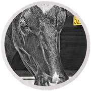 Dairy Cow Number 5216 Round Beach Towel