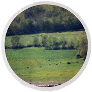 Dairy Farm In The Finger Lakes Round Beach Towel
