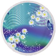 Daisies And Butterflies On Blue Background Round Beach Towel
