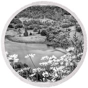 Daisies At Queens View In Greyscale Round Beach Towel