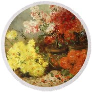 Daisies, Begonia, And Other Flowers In Pots Round Beach Towel