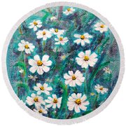 Daisies Golden Eyed Round Beach Towel