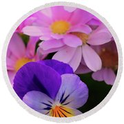 Daisy And Pansy Round Beach Towel