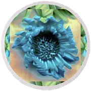 Daisy Blue Frame Round Beach Towel