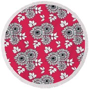 Daisy Flower Bouquet Round Beach Towel