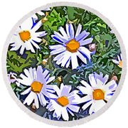 Daisy Flower Garden Abstract Round Beach Towel